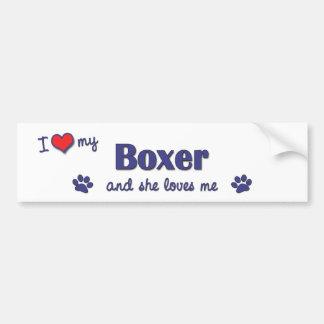 I Love My Boxer (Female Dog) Bumper Sticker