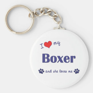 I Love My Boxer Female Dog Keychain