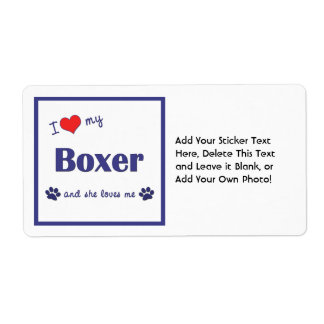 I Love My Boxer (Female Dog) Label