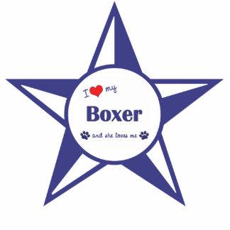 I Love My Boxer (Female Dog) Photo Statuette