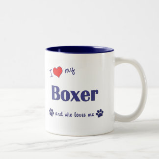 I Love My Boxer (Female Dog) Two-Tone Coffee Mug