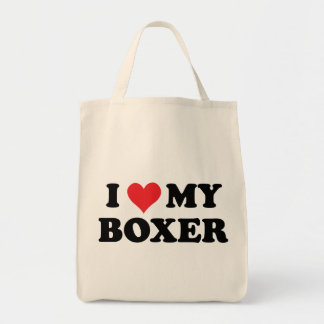 I Love My Boxer Grocery Tote Bag