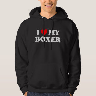 I Love My Boxer Hooded Pullover