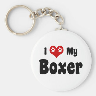 I Love My Boxer Key Chains