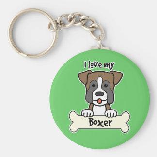 I Love My Boxer Keychain