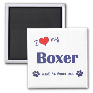 I Love My Boxer (Male Dog) 2 Inch Square Magnet