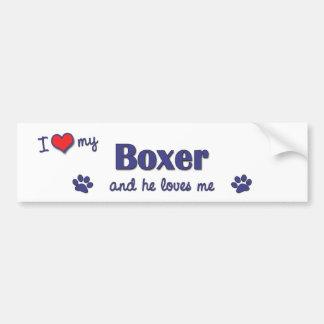 I Love My Boxer (Male Dog) Bumper Sticker