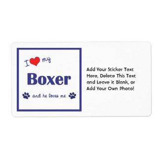 I Love My Boxer (Male Dog) Label