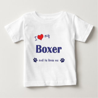 I Love My Boxer (Male Dog) T Shirt