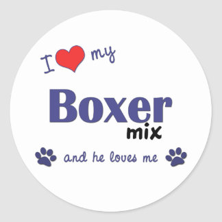 I Love My Boxer Mix (Male Dog) Classic Round Sticker