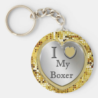 I Love My Boxer Or ? Heart Keychain
