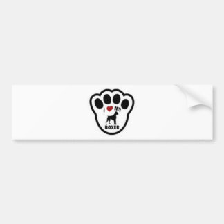 I love my Boxer Paw Print Car Bumper Sticker