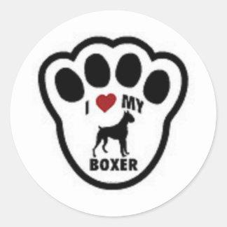 I love my Boxer Paw Print Classic Round Sticker