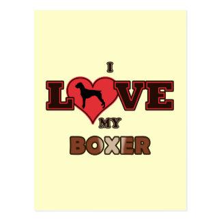 I Love My Boxer Postcard