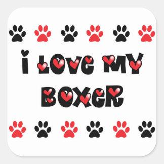I Love My Boxer Square Sticker