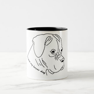 i love my boxer Two-Tone coffee mug
