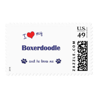 I Love My Boxerdoodle (Male Dog) Postage Stamp