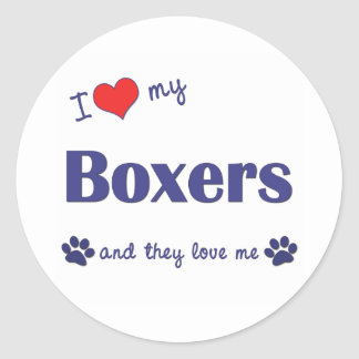 I Love My Boxers (Many Dogs) Classic Round Sticker
