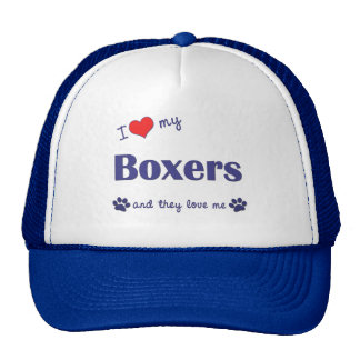 I Love My Boxers (Many Dogs) Hats