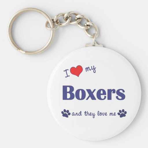 I Love My Boxers (Many Dogs) Basic Round Button Keychain