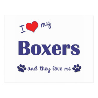 I Love My Boxers (Many Dogs) Postcard