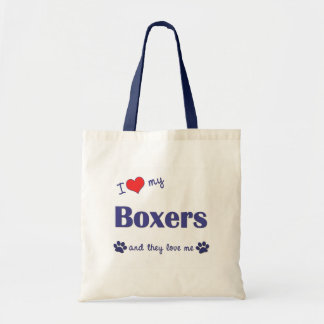 I Love My Boxers (Many Dogs) Tote Bag