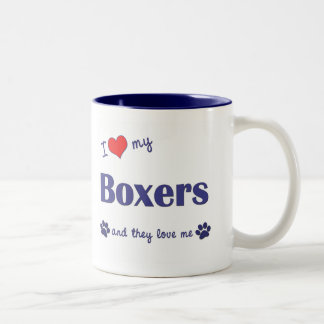 I Love My Boxers (Many Dogs) Two-Tone Coffee Mug