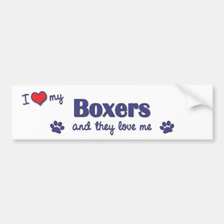 I Love My Boxers (Multiple Dogs) Car Bumper Sticker