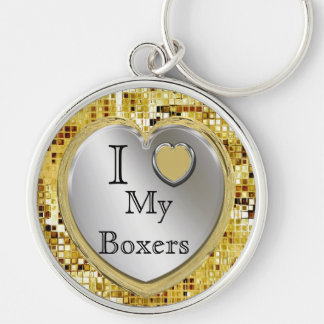 I Love My Boxers Or ? Heart Keychain