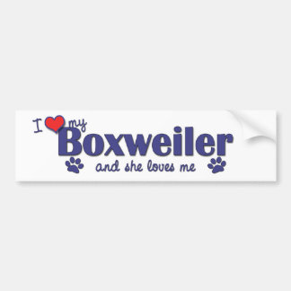 I Love My Boxweiler (Female Dog) Car Bumper Sticker