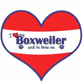 I Love My Boxweiler (Male Dog) Photo Sculpture Ornament