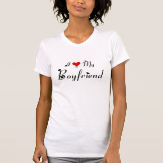I Love My Boyfriend (3) Ladies Sheer V-Neck Tee Shirts