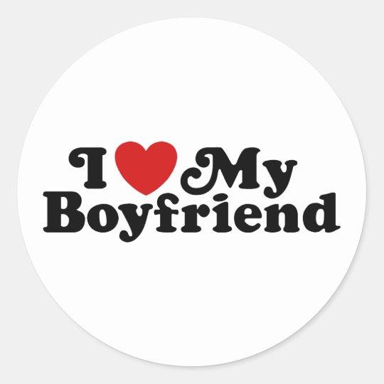 I Love My Boyfriend Classic Round Sticker