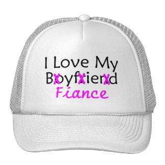 I Love My Boyfriend Fiance Pink Trucker Hat