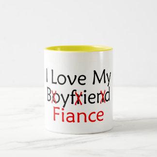 I Love My Boyfriend Fiance Two-Tone Coffee Mug