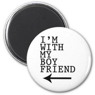 I love my boyfriend (Left) 2 Inch Round Magnet