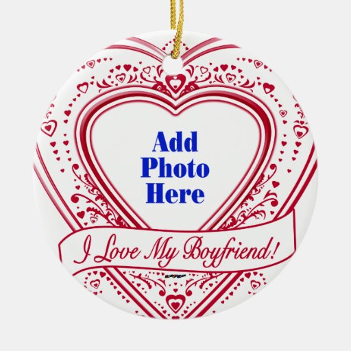 I Love My Boyfriend! Photo Red Hearts Double-Sided Ceramic Round Christmas Ornament
