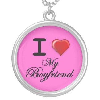 I Love My Boyfriend Pink background Round Pendant Necklace