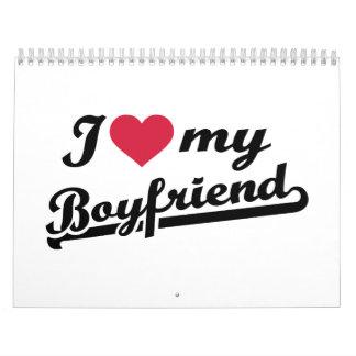 I love my boyfriend red heart calendar