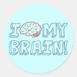 I Love My Brain Classic Round Sticker