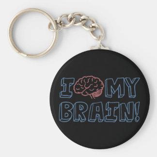I Love My Brain Basic Round Button Keychain