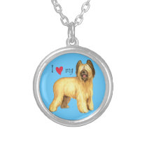 I Love my Briard Silver Plated Necklace
