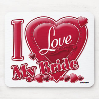 I Love My Bride red - heart Mouse Pad