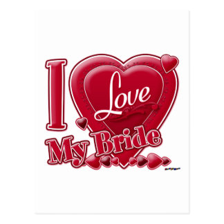 I Love My Bride red - heart Postcard