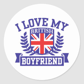 I Love My British Boyfriend Classic Round Sticker