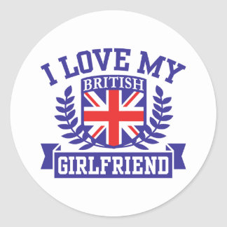 I Love My British Girlfriend Classic Round Sticker