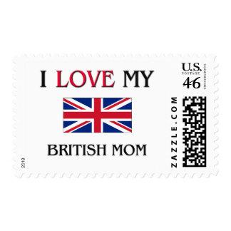 I Love My British Mom Postage Stamps
