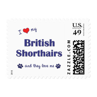 I Love My British Shorthairs (Multiple Cats) Stamp