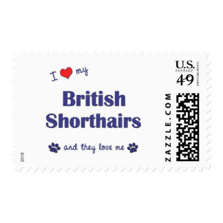 I Love My British Shorthairs (Multiple Cats) Stamps