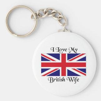 I love my British wife Keychain